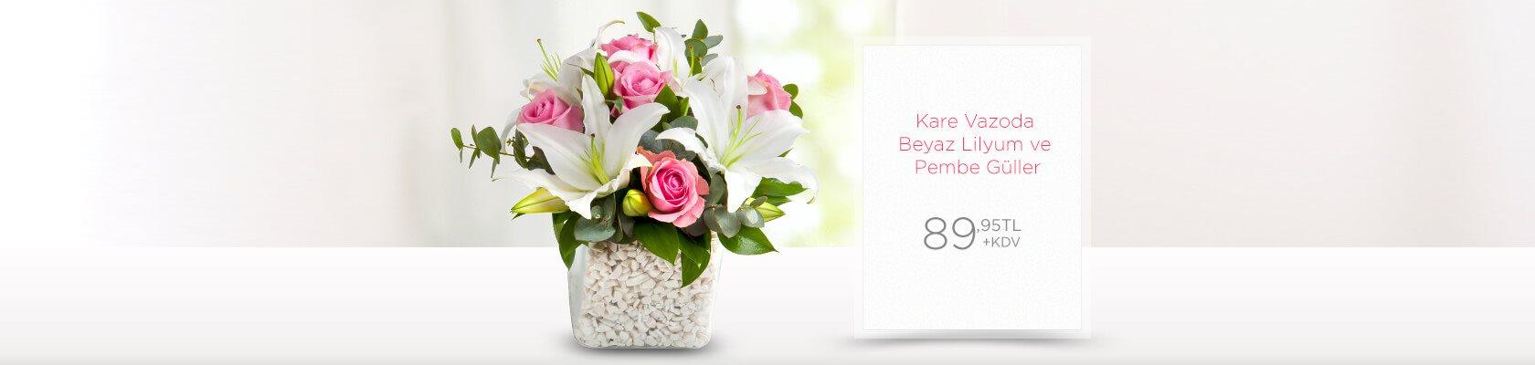 Kare Vazoda Beyaz Lilyum ve Pembe Güller